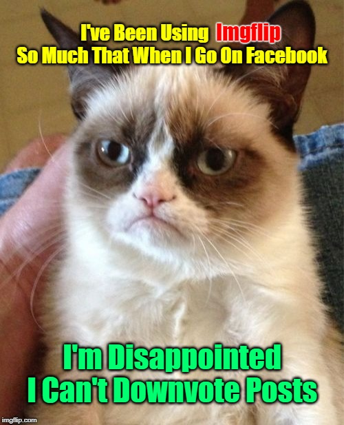 Yet I Keep Going Back To Facebook | I've Been Using                 So Much That When I Go On Facebook I'm Disappointed I Can't Downvote Posts Imgflip | image tagged in memes,grumpy cat,facebook,downvote,google,meme | made w/ Imgflip meme maker