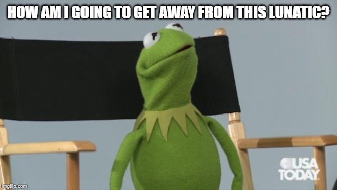Kermit scared look | HOW AM I GOING TO GET AWAY FROM THIS LUNATIC? | image tagged in kermit scared look | made w/ Imgflip meme maker