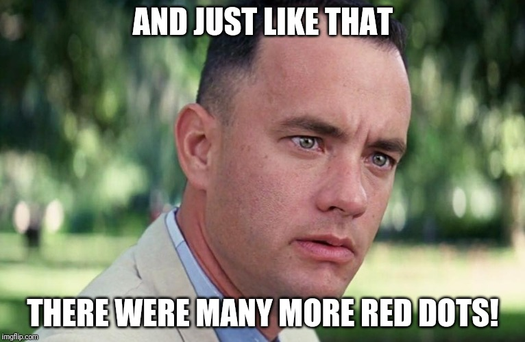 And Just Like That Meme | AND JUST LIKE THAT THERE WERE MANY MORE RED DOTS! | image tagged in and just like that | made w/ Imgflip meme maker