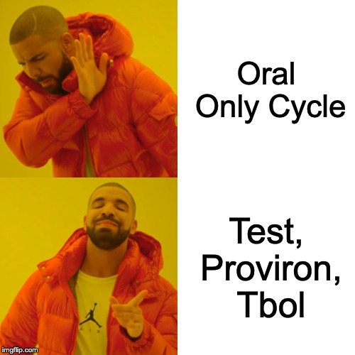 Drake Hotline Bling Meme |  Oral Only Cycle; Test, Proviron, Tbol | image tagged in memes,drake hotline bling | made w/ Imgflip meme maker