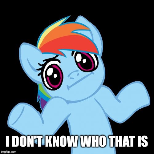 Pony Shrugs Meme | I DON'T KNOW WHO THAT IS | image tagged in memes,pony shrugs | made w/ Imgflip meme maker