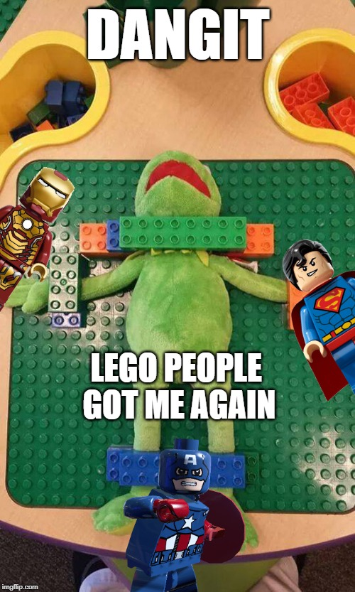 Kermit got jumped | DANGIT LEGO PEOPLE GOT ME AGAIN | image tagged in lego kermit,lego | made w/ Imgflip meme maker