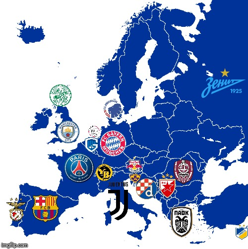 European Champions Map 2018-2019 | image tagged in memes,football,europe,champions,map,2019 | made w/ Imgflip meme maker