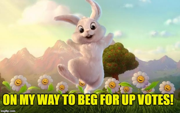 When you comment, I will come and up vote your first page of memes! If I haven't done so already that is! | ON MY WAY TO BEG FOR UP VOTES! | image tagged in easter-bunny defense,nixieknox,memes | made w/ Imgflip meme maker