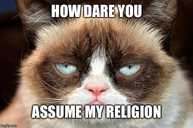 Grumpy Cat Not Amused Meme | HOW DARE YOU ASSUME MY RELIGION | image tagged in memes,grumpy cat not amused,grumpy cat | made w/ Imgflip meme maker