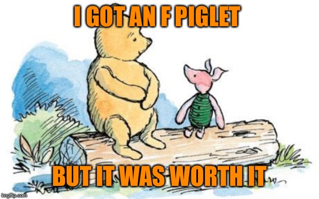 winnie the pooh and piglet | I GOT AN F PIGLET BUT IT WAS WORTH IT | image tagged in winnie the pooh and piglet | made w/ Imgflip meme maker