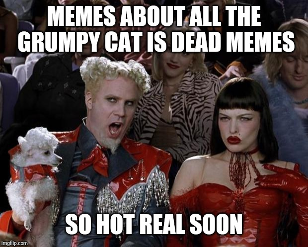 Mugatu So Hot Right Now Meme | MEMES ABOUT ALL THE GRUMPY CAT IS DEAD MEMES SO HOT REAL SOON | image tagged in memes,mugatu so hot right now | made w/ Imgflip meme maker