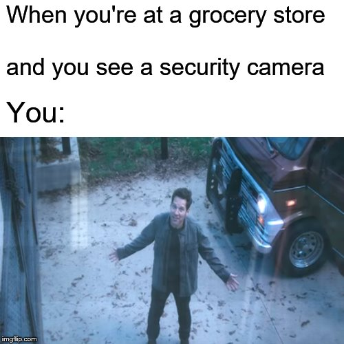 When you're at a grocery store and you see a security camera You: | image tagged in memes,surprised pikachu,antman,scott lang,avengers endgame | made w/ Imgflip meme maker