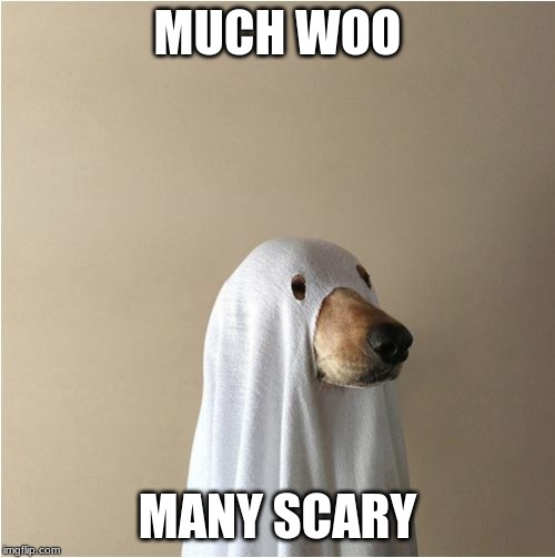 Ghost Doge | MUCH WOO MANY SCARY | image tagged in ghost doge | made w/ Imgflip meme maker