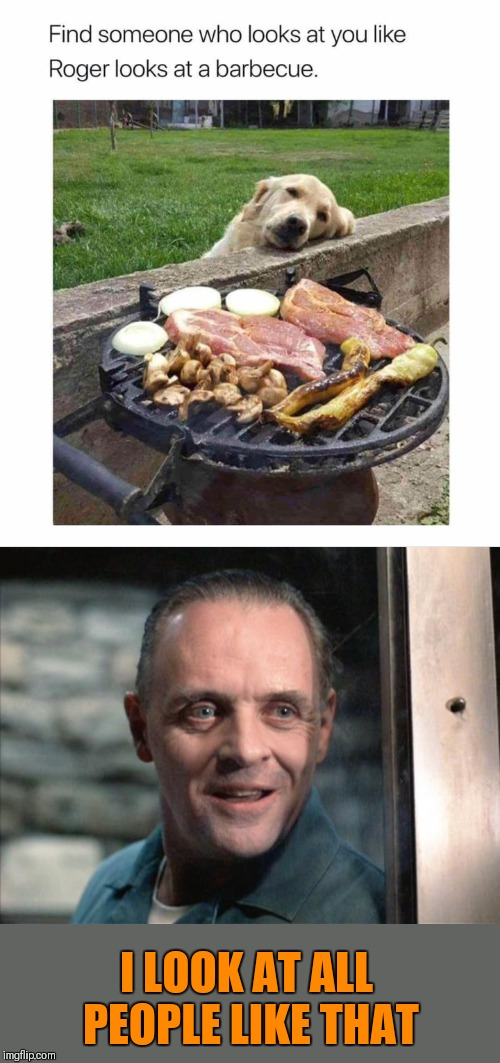 You look so tasty | I LOOK AT ALL PEOPLE LIKE THAT | image tagged in hannibal lecter,memes,dogs,barbecue,grilling,44colt | made w/ Imgflip meme maker