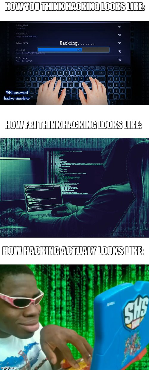 how hacking looks like |  HOW YOU THINK HACKING LOOKS LIKE:; HOW FBI THINK HACKING LOOKS LIKE:; HOW HACKING ACTUALY LOOKS LIKE: | image tagged in funny,memes,hacks,computer,virus,video games | made w/ Imgflip meme maker