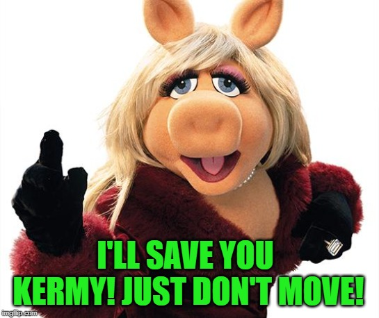 Miss Piggy | I'LL SAVE YOU KERMY! JUST DON'T MOVE! | image tagged in miss piggy | made w/ Imgflip meme maker