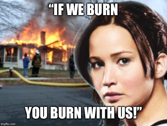 "Katniss is is disaster girl |  ""IF WE BURN; YOU BURN WITH US!"" 