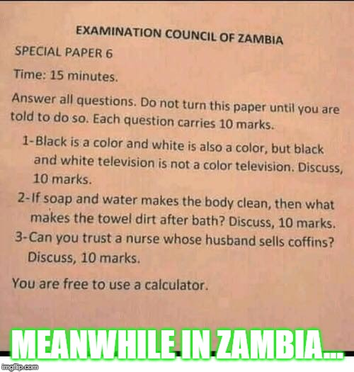 Zambian test | MEANWHILE IN ZAMBIA... | image tagged in test,zambia | made w/ Imgflip meme maker