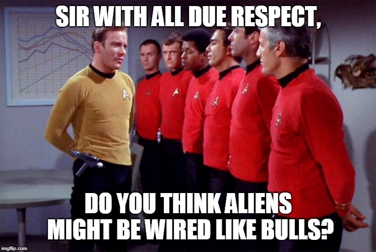 Red shirts | SIR WITH ALL DUE RESPECT, DO YOU THINK ALIENS MIGHT BE WIRED LIKE BULLS? | image tagged in red shirts | made w/ Imgflip meme maker