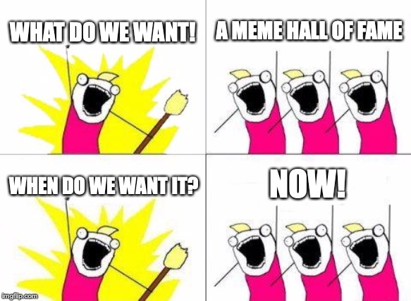 What Do We Want | WHAT DO WE WANT! A MEME HALL OF FAME WHEN DO WE WANT IT? NOW! | image tagged in memes,what do we want | made w/ Imgflip meme maker