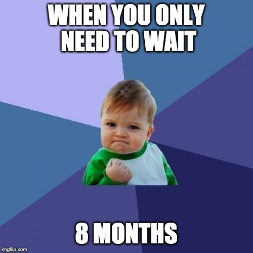 Success Kid Meme | WHEN YOU ONLY NEED TO WAIT 8 MONTHS | image tagged in memes,success kid | made w/ Imgflip meme maker