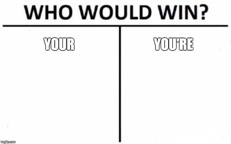 Who Would Win? Meme | YOUR YOU'RE | image tagged in memes,who would win | made w/ Imgflip meme maker