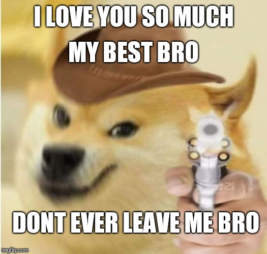 MY BEST BRO; I LOVE YOU SO MUCH; DONT EVER LEAVE ME BRO | image tagged in derp doge | made w/ Imgflip meme maker