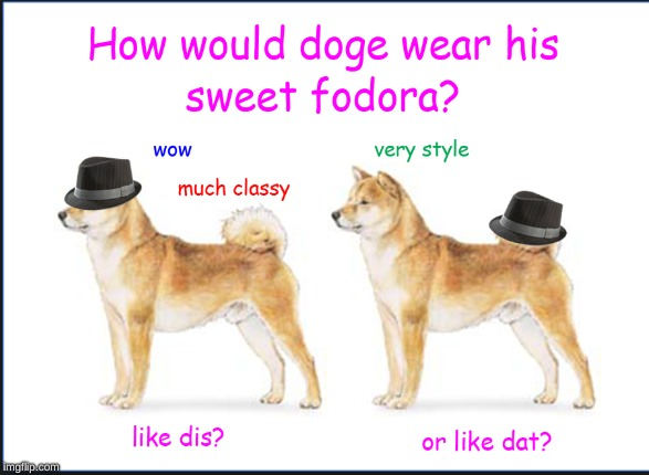 image tagged in doge,fedora,cute,style | made w/ Imgflip meme maker