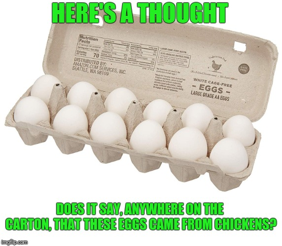 Assumptions | HERE'S A THOUGHT DOES IT SAY, ANYWHERE ON THE CARTON, THAT THESE EGGS CAME FROM CHICKENS? | image tagged in eggs,chickens | made w/ Imgflip meme maker