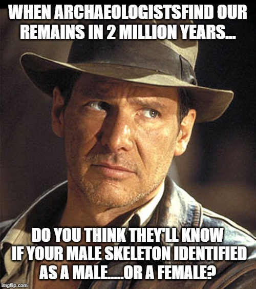 Indiana jones | WHEN ARCHAEOLOGISTSFIND OUR REMAINS IN 2 MILLION YEARS... DO YOU THINK THEY'LL KNOW IF YOUR MALE SKELETON IDENTIFIED AS A MALE.....OR A FEMA | image tagged in indiana jones | made w/ Imgflip meme maker