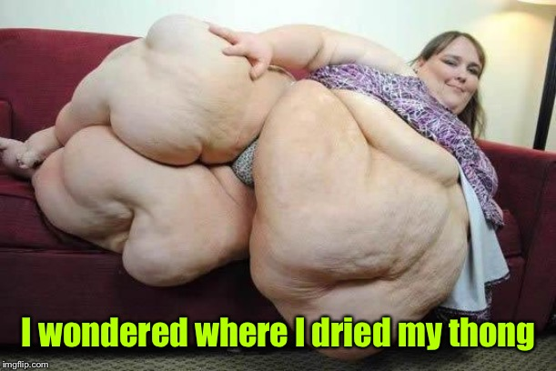 fat girl | I wondered where I dried my thong | image tagged in fat girl | made w/ Imgflip meme maker