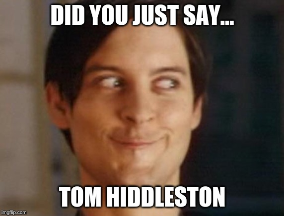 did you just say Tom Hiddleston | DID YOU JUST SAY... TOM HIDDLESTON | image tagged in memes,spiderman peter parker,tom hiddleston | made w/ Imgflip meme maker