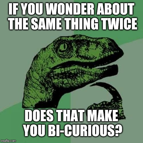 Think about this later |  IF YOU WONDER ABOUT THE SAME THING TWICE; DOES THAT MAKE YOU BI-CURIOUS? | image tagged in memes,philosoraptor | made w/ Imgflip meme maker