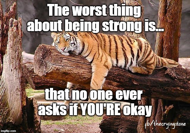 The worst thing about being strong is... that no one ever asks if YOU'RE okay | image tagged in tired,caring,strong | made w/ Imgflip meme maker