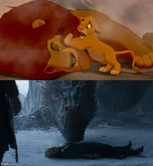 Simba vs. Drogon | image tagged in got,drogon,daenerys targaryen,game of thrones,mufasa and simba,lion king | made w/ Imgflip meme maker