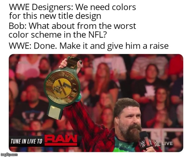 Seriously guys....Green and Gold? No wonder the title changes hands so fast | image tagged in wwe,24,nfl,ugly | made w/ Imgflip meme maker