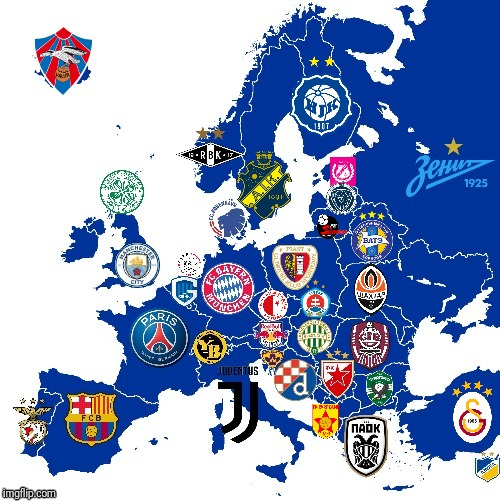 European Champions Map 2018-2019 (FULL) | image tagged in memes,football,europe,champions,map,2019 | made w/ Imgflip meme maker