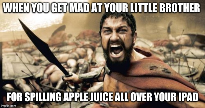 Sparta Leonidas | WHEN YOU GET MAD AT YOUR LITTLE BROTHER FOR SPILLING APPLE JUICE ALL OVER YOUR IPAD | image tagged in memes,sparta leonidas | made w/ Imgflip meme maker