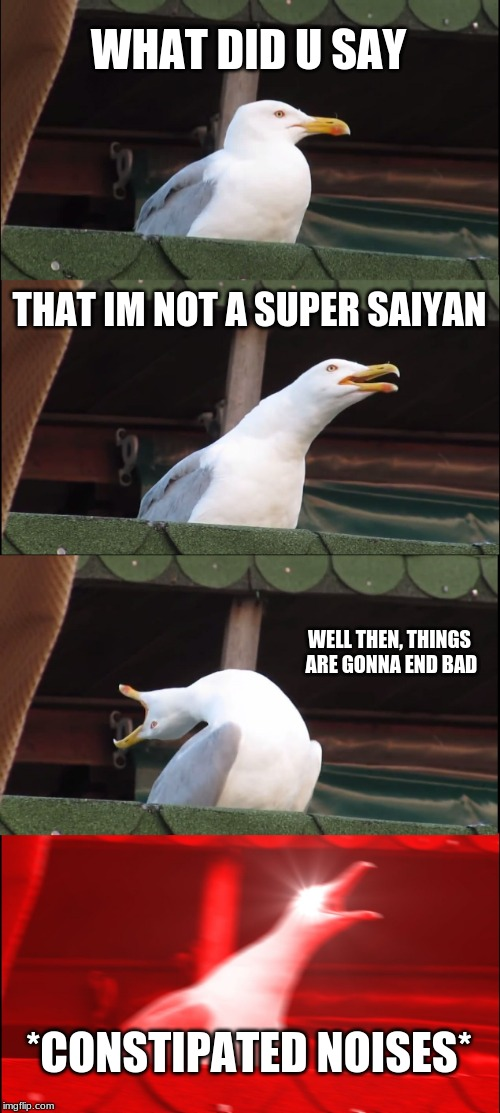 Inhaling Seagull Meme | WHAT DID U SAY THAT IM NOT A SUPER SAIYAN WELL THEN, THINGS ARE GONNA END BAD *CONSTIPATED NOISES* | image tagged in memes,inhaling seagull | made w/ Imgflip meme maker