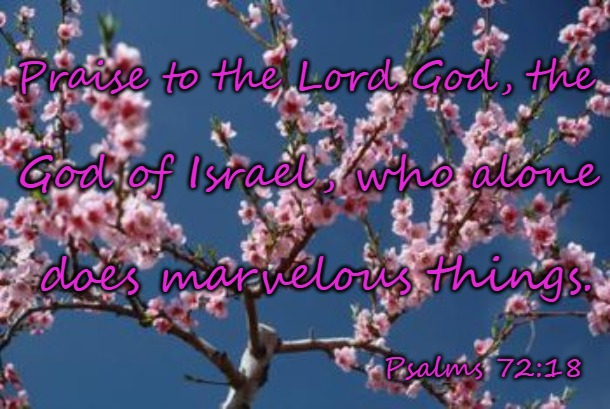 Psalms 72:18 Praise The Lord, The God Of Israel |  Praise to the Lord God, the; God of Israel, who alone; does marvelous things. Psalms 72:18 | image tagged in bible,bible verse,verse,holy bible,holy spirit,god | made w/ Imgflip meme maker