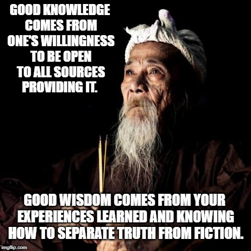 wise man | GOOD KNOWLEDGE COMES FROM ONE'S WILLINGNESS TO BE OPEN TO ALL SOURCES PROVIDING IT. GOOD WISDOM COMES FROM YOUR EXPERIENCES LEARNED AND KNOW | image tagged in wise man | made w/ Imgflip meme maker