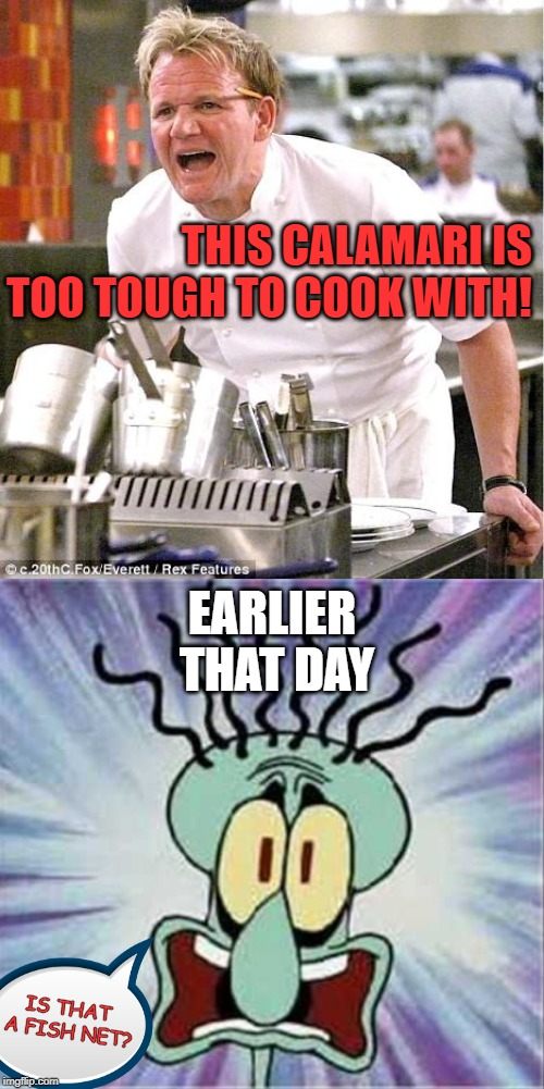 Squidward is a tough old bird. Squidward Week! May 19th-25th a Sahara-jj and EGOS event. | THIS CALAMARI IS TOO TOUGH TO COOK WITH! EARLIER THAT DAY IS THAT A FISH NET? | image tagged in memes,chef gordon ramsay,squidward week,calamari,sahara-jj,egos | made w/ Imgflip meme maker