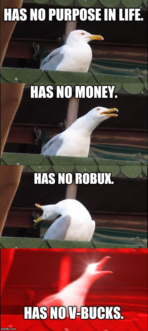 Inhaling Seagull | HAS NO PURPOSE IN LIFE. HAS NO MONEY. HAS NO ROBUX. HAS NO V-BUCKS. | image tagged in memes,inhaling seagull,money,robux,v-bucks | made w/ Imgflip meme maker