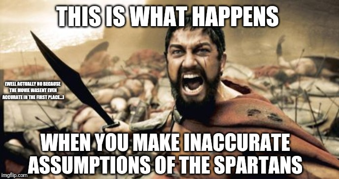 Sparta Leonidas | THIS IS WHAT HAPPENS WHEN YOU MAKE INACCURATE ASSUMPTIONS OF THE SPARTANS (WELL ACTUALLY NO BECAUSE THE MOVIE WASENT EVEN ACCURATE IN THE FI | image tagged in memes,sparta leonidas | made w/ Imgflip meme maker