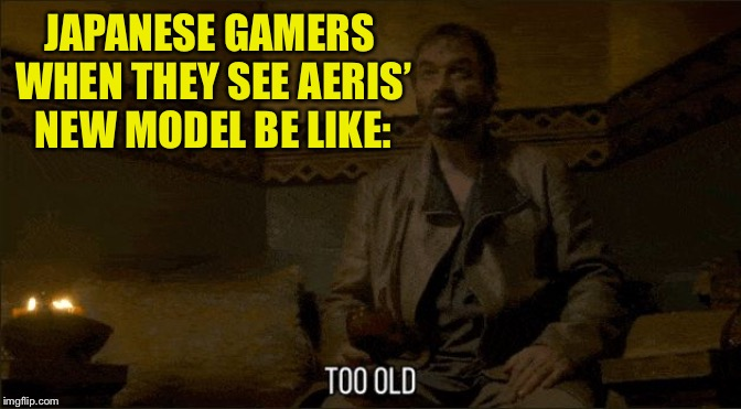 Meryn Treant Too Old | JAPANESE GAMERS WHEN THEY SEE AERIS' NEW MODEL BE LIKE: | image tagged in meryn treant too old | made w/ Imgflip meme maker