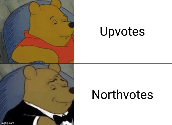 And downvotes are called southvotes | Upvotes Northvotes | image tagged in memes,tuxedo winnie the pooh,upvotes,north | made w/ Imgflip meme maker