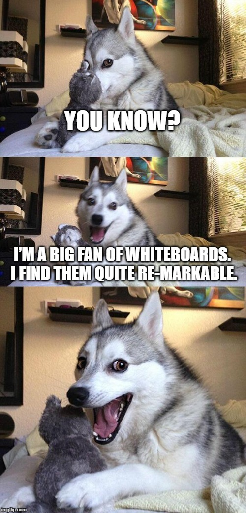 Bad Pun Dog |  YOU KNOW? I'M A BIG FAN OF WHITEBOARDS. I FIND THEM QUITE RE-MARKABLE. | image tagged in memes,bad pun dog | made w/ Imgflip meme maker