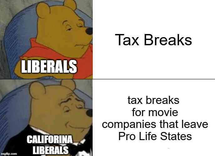 Gotta Love Liberal Hypocrisy | Tax Breaks tax breaks for movie companies that leave Pro Life States LIBERALS CALIFORINA LIBERALS | image tagged in memes,tuxedo winnie the pooh,tax cuts,liberal logic,politics | made w/ Imgflip meme maker