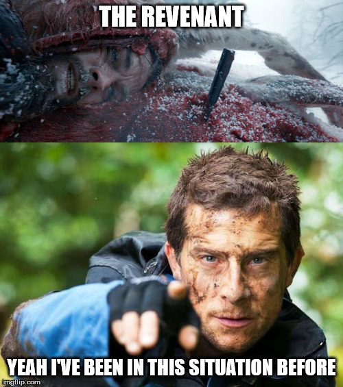 Bear Grylls be like... | THE REVENANT YEAH I'VE BEEN IN THIS SITUATION BEFORE | image tagged in memes,funny,animals,survivor,bear grylls,be like | made w/ Imgflip meme maker
