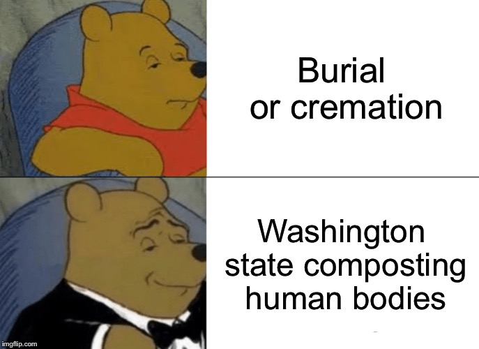Just call me Joe Dirt. | Burial or cremation Washington state composting human bodies | image tagged in memes,tuxedo winnie the pooh,recycling,funny | made w/ Imgflip meme maker