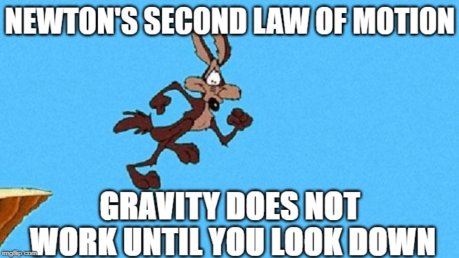 Wile E. Coyote |  NEWTON'S SECOND LAW OF MOTION; GRAVITY DOES NOT WORK UNTIL YOU LOOK DOWN | image tagged in wile e coyote | made w/ Imgflip meme maker