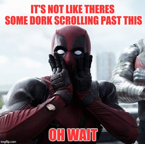 And your mom dresses you funny | IT'S NOT LIKE THERES SOME DORK SCROLLING PAST THIS OH WAIT | image tagged in memes,deadpool surprised | made w/ Imgflip meme maker