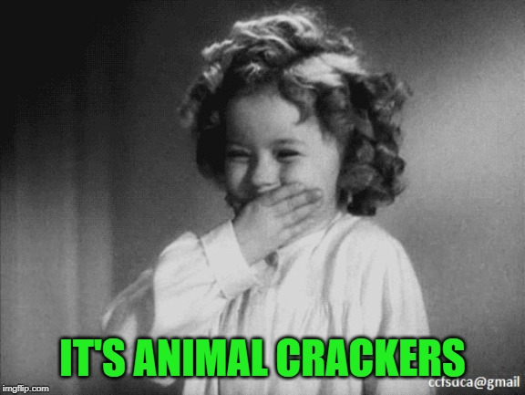Shirley Temple Laughing | IT'S ANIMAL CRACKERS | image tagged in shirley temple laughing | made w/ Imgflip meme maker