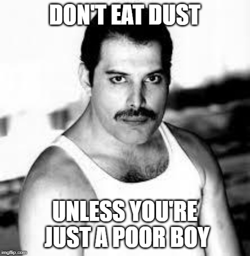 DON'T EAT DUST UNLESS YOU'RE JUST A POOR BOY | image tagged in freddiemercury | made w/ Imgflip meme maker